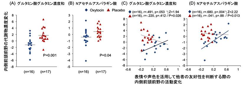 図2. オキシトシン反復投与によるASD当事者の内側前頭前野における代謝物濃度変化